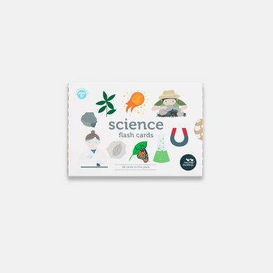The front view of the packaging of a set of Two Little Ducklings Science Flash Cards for children. The pictures on the front include a geologists, a chemist, a plant, comet, butterfly and a conical flask.