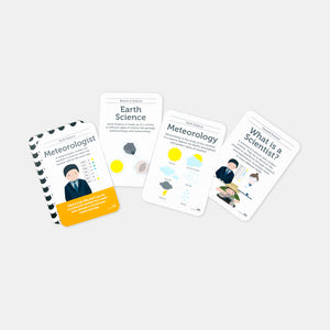 Inside the Science flash card set by Two Little Ducklings showing an example of four cards. One is a meteorologist, then Earth Science, Meteorology and What is a scientists card?