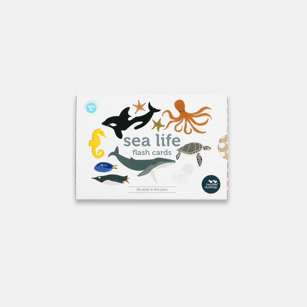 A front view of the packaging of Two Little Ducklings Flash Cards in the Sea life set. The animals on the front include an orca, a sea star, sea hours, octopus, turtle, penguin and fish. The cards are Australian made on environmentally friendly paper.
