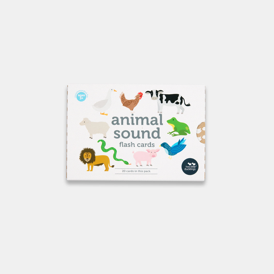 Animal Sounds flash cards made by Two Little Ducklings and sold by Gumnut Kids