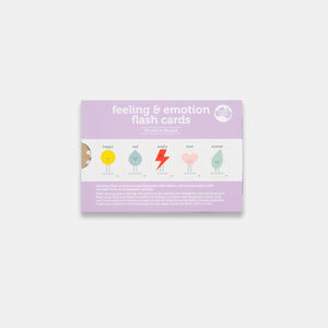 The back packaging of feeling & emotion children's flash cards by Gumnut Kids