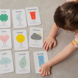 Emotion flash cards for young children designed and made by Two Little Ducklings Australian on sustainably sourced paper stock.