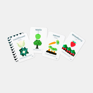 Two Little Ducklings. Preschool and toddler flash cards. Fruit and Vegetable theme with cauliflower, apple, carrot and strawberry. Gumnut Kids is an online Two Little Ducklings stockist in Sydney.