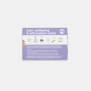 The back packaging of kid's wellbeing and affirmation cards sold by Gumnut kids and made in Australia by two little ducklings