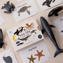 Load image into Gallery viewer, Sea life creature flash cards that are Australian made on sustainably sourced paper by Two Little Ducklings sold by Gumnut Kids