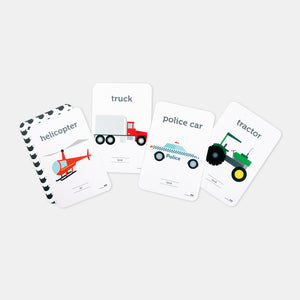 Two Little Ducklings. Transport Flash Cards sold Gumnut Kids and made in Australia by Two Little Ducklings. Helicopter, truck, police car and tractor flash card examples.