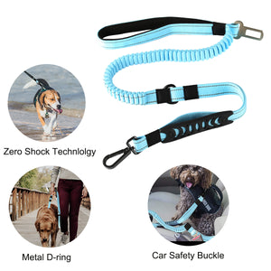 SKYMEE Multifunctional Strong 6FT Shock Absorbing Reflective Dog Leash with Car Seat Belt Buckle. - Skymee Store