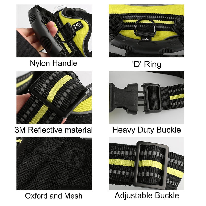 Skymee Pet Harness No-Pull Pet Harness Adjustable Outdoor Pet Vest 3M Reflective Oxford Material Vest for Dogs Easy Control for Small Medium Large Dogs - Skymee Store