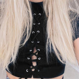 Lace-Up Black Crop Top