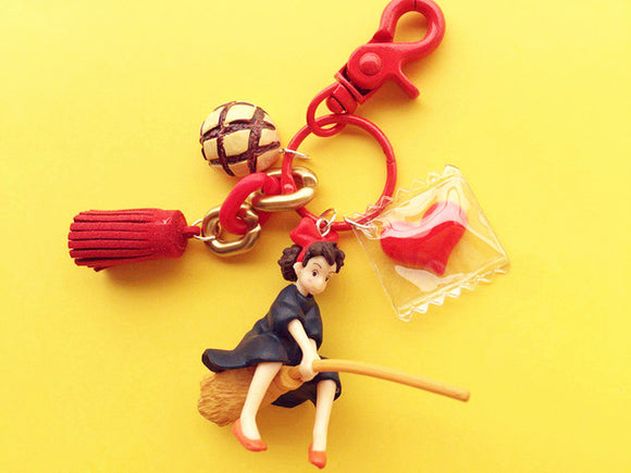 Kiki on Broom Keychain