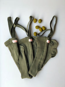 Footed tights with braces - Olive