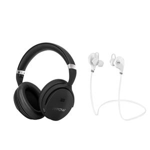 Mpow X4.0 Black Wireless Active Noise Cancellation Over Ear Headphones Plus X1.0 White Sport Earbud Combo (BMBH143CB_293AW)