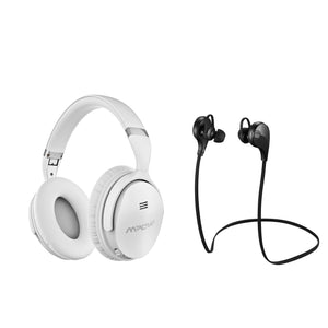 Mpow X4.0 White Wireless Active Noise Cancellation Over Ear Headphones Plus X1.0 Black Sport Earbud Combo (BMBH143CW_293AB)