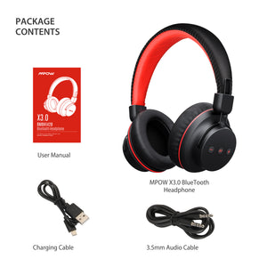 Mpow X3.0- Wireless Over Ear Headphones, Comfortable, Sweatproof, Superior Audio, Tangle Free, Signal Enhance Technology- Red (BMBH142BR)