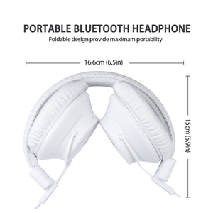 Mpow X3.0- Wireless Over Ear Headphones, Comfortable, Sweatproof, Superior Audio, Tangle Free, Signal Enhance Technology- White