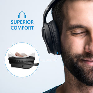 Mpow X4.0- Wireless Active Noise Cancelation Over Ear Headphones, Comfortable, Sweatproof, Superior Audio, Tangle Free, Signal Enhance Technology- Black (BMBH143CB)