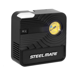 STEELMATE Portable Air Compressor Pump, Digital Tire Inflator, 12V DC Electric, 35L/Min, LED Light, Inline Fusion, Overheat Protection, Nozzle Adaptors and Fuse-Yellow Color (PO3)