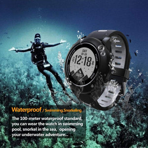 UW90 Smart Watch GPS Outdoor Sports Smart Watch Heart Rate Monitoring BT4.2 GPS Compass IP68 Deep Waterproof Smart Bracelet Activity Tracker for iOS and Android (Black/ Red Color)