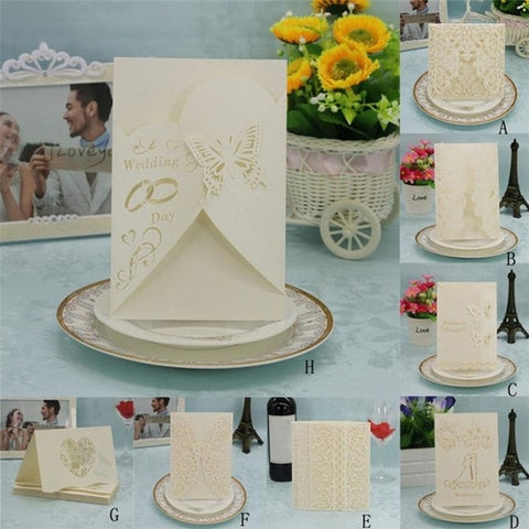 20Pcs Beige Delicate Carved Wedding Party
