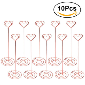 10pcs Place Card Holder Heart Shape Picture Stand Note Clip Wedding Party Favor