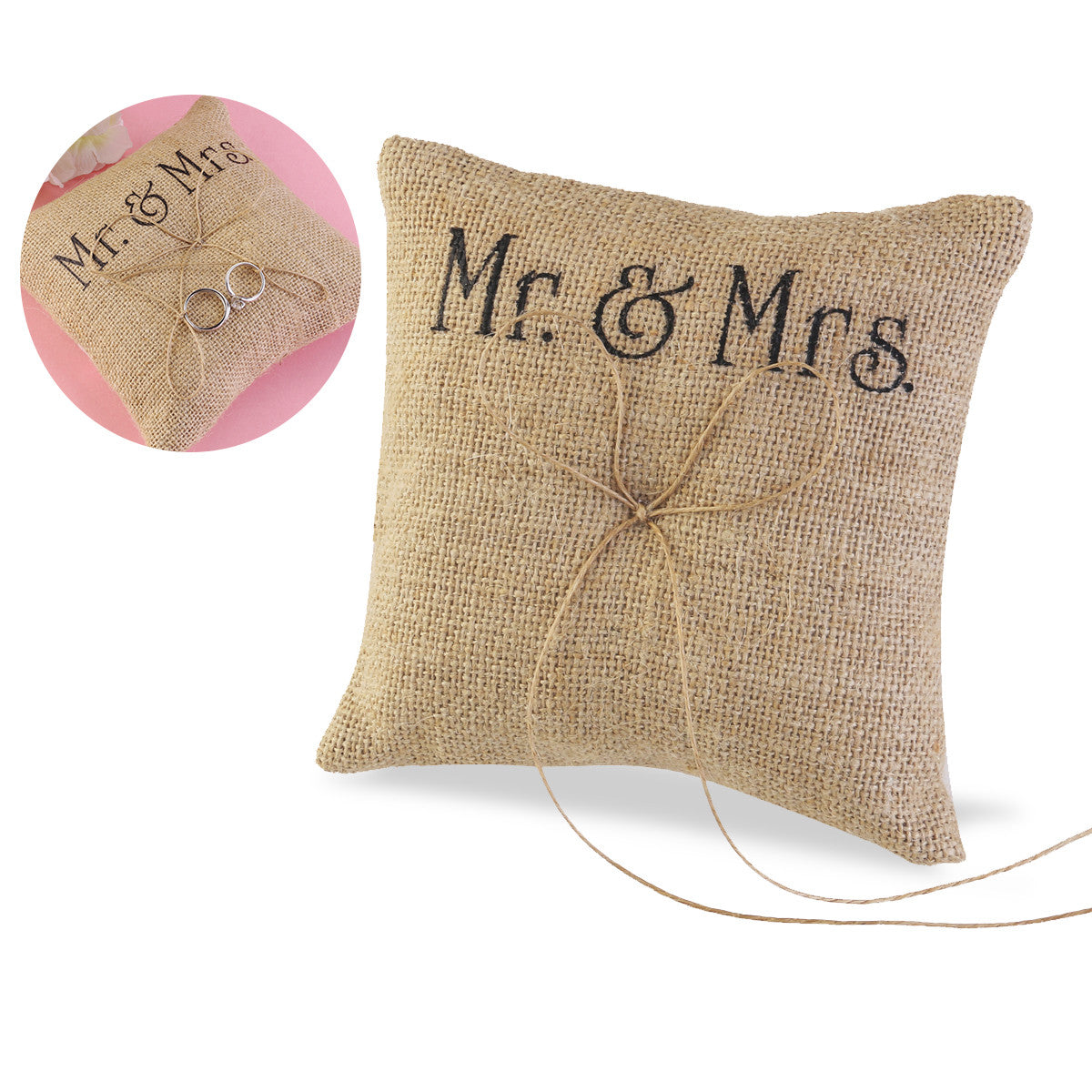 TINKSKY Mr & Mrs Burlap Jute Bow Twine Rustic Wedding Ring Pillow