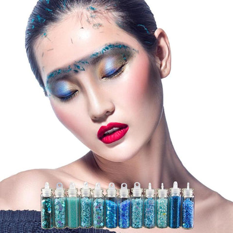 11colors Festival Nail Face Glitter Powder Party Makeup Eye Shadow Hair Glitter Powder Decoration Nail Sequins 12 Bottle/Set