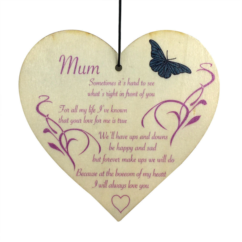 Wooden Heart Slice Butterfly Shape Plaque Sign DIY Crafts