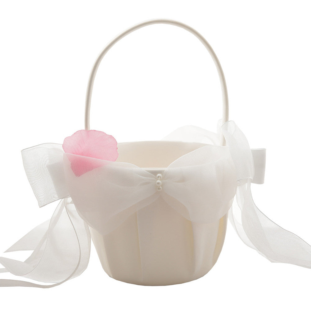 Wedding Flower Girl Basket Bowknot Ribbon Bridal Basket for Wedding Ceremony Party Decoration