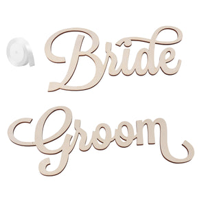 2pcs Bride Groom Wedding Chair Signs Wooden Chair Back Signs