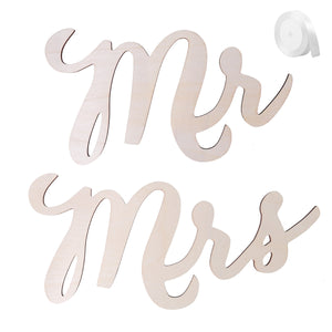 2pcs Mr Mrs Wedding Chair Signs Wooden Chair Back Signs for Bride and Groom Wedding Chairs Hanging