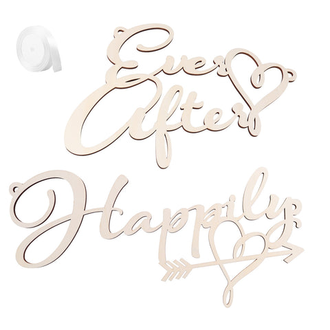 2pcs Happily Ever After Chair Sign Chair Decorations Signs for Bride and Groom