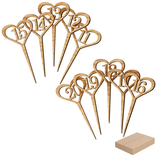 10pcs Table Number Marker Wooden Hollow Number Tag for Wedding Party