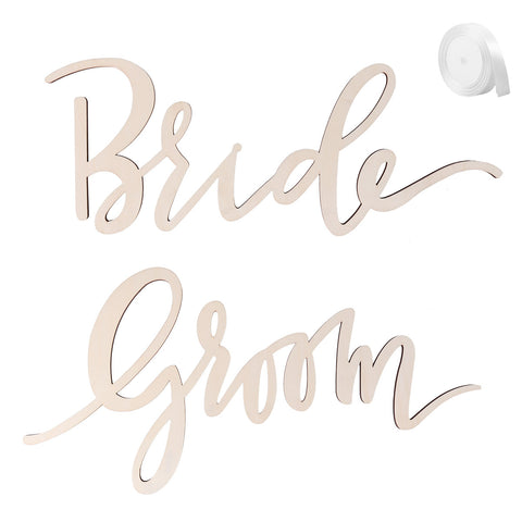 2pcs Bride Groom Chair Sign Chair Decorations Signs for Bride and Groom Wedding Chairs Back Hanging