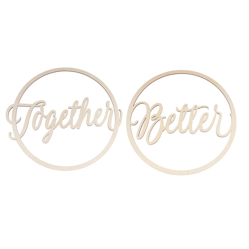 2pcs Round Wedding Chair Signs Wooden Better Together for Bride and Groom Wedding Chairs Hanging
