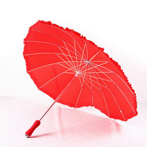 Red heart Umbrellas shape 16 ribs peach Folding Sunny and Rainy Umbrella for women wedding party