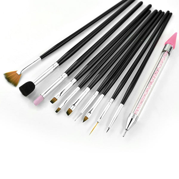 Venalisa factory Supply Professional Nail Art Learner Start Decoration Sticky Pen Diamond Stick Pen Nail Art Design Brush Kit
