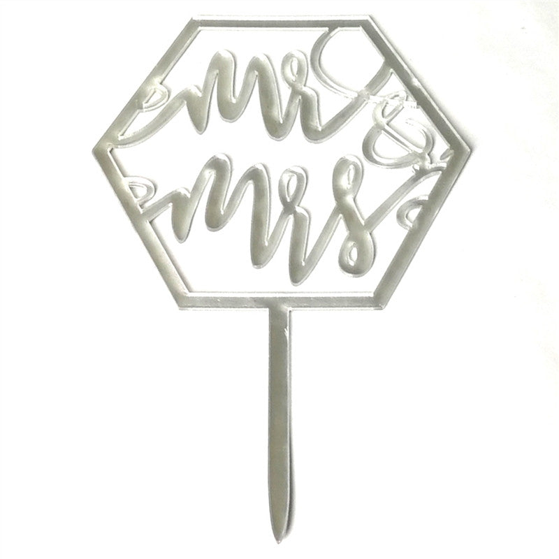 Cake Topper Romantic Wedding Mr&Mrs Love Theme Acrylic Mirror Cake Flag Dessert Table Dress up Supplies (Silver)