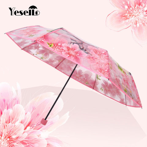 Yesello Fashion Transparent Clear Folding Umbrella Peach Blossom Women Rain Umbrella