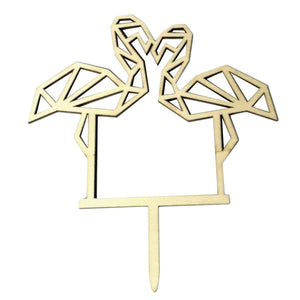 Cake Topper Wooden Romantic Love Theme Couple Flamingo Shape Cake Glitter Flag Dessert Table Dress up Supplies