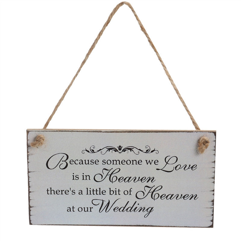 Rectangle Wedding Decorative Sign Hanger Wooden Wedding Plaques Hanging for Ornmanet