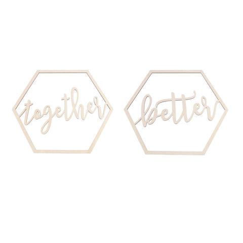2pcs Hexagon Wedding Chair Signs Wooden Better Together for Bride and Groom Wedding Chairs Hanging