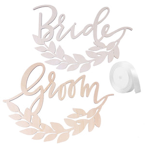 2pcs Bride Groom Wooden Chair Signs with Wheat Decoration Wedding Hanging Signs Chairs Hanging