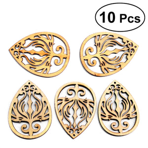10 Pcs Unfinished Wood Cutout Chips for Board Game Pieces Arts Crafts Projects Ornaments (Drops Pendant)