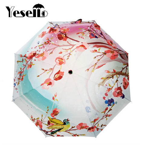 Yesello Peach Blossom Folding Umbrella Ultra-thin Light Rainproof Umbrella Women Umbrella Pink Flower Lady Sun Rain Gear Parasol