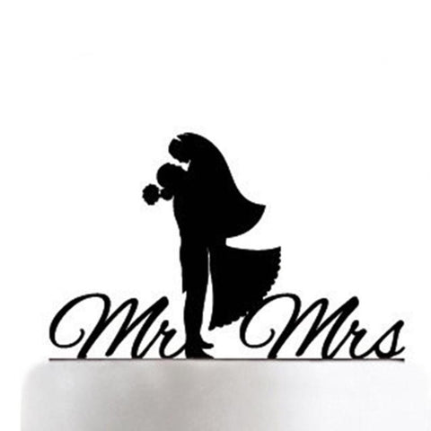 New Mr. Mrs. Wedding Cake Decoration Acrylic Black Romantic Accessories for Wedding Cake Party Favors