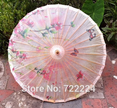 Dia 84cm Chinese Pink Peach Blossom Oilpaper Umbrella Japan Style Handmade Classical Parasol Wedding Cosplay Props Dance Umbrlla
