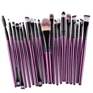 20 Pcs Pro Makeup Brushes Set Powder Foundation Eyeshadow Eyeliner Lip Mascara Brushes Face Cosmetic Smudge Brushes Purple