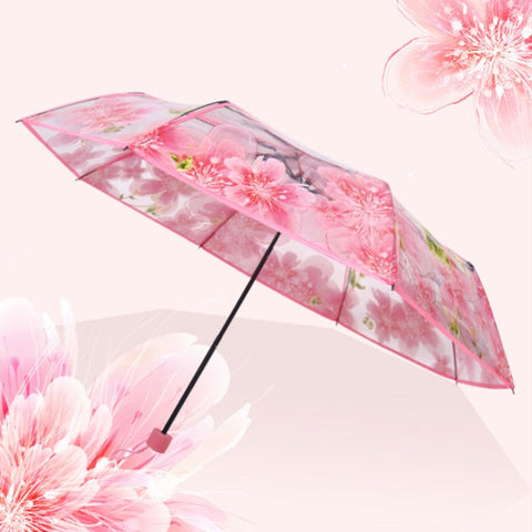 DINIWELL Pink Flower Pencil Umbrella Fashion Transparent Clear Folding Umbrella Peach Blossom Women Rain Umbrellas
