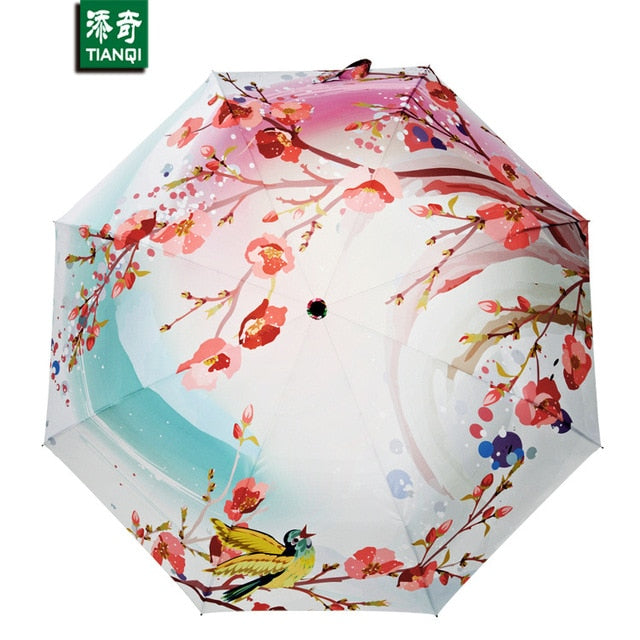 Peach Blossom Pattern Umbrella Women Oil Painting 3 Folding Parasol Fashion Lady Portable Girl Friend Gift Kids