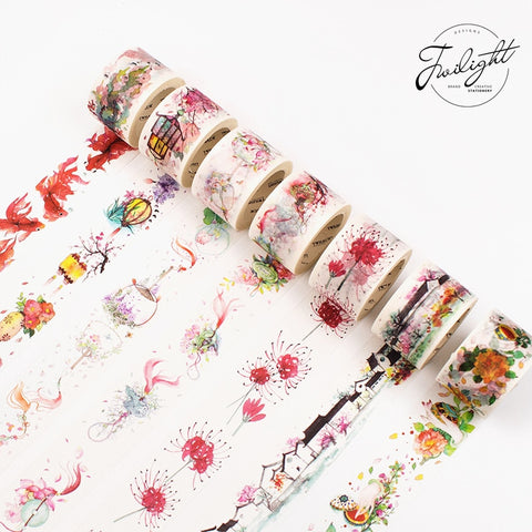 Chinese landscape/lantern/Peach Blossom Fan/Goldfish/Oil paper umbrella/Lotus Washi Tape DIY Planner Scrapbooking Masking Tape
